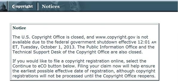 Copyright.gov special notice due to gov't shutdown
