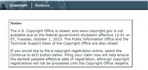 Copyright.gov special notice due to gov't shutdown
